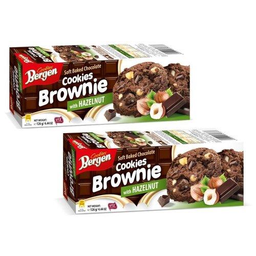 Шоколадное печенье BERGEN «Брауни» с кусочками шоколада и лесным орехом, 126г, 2шт.