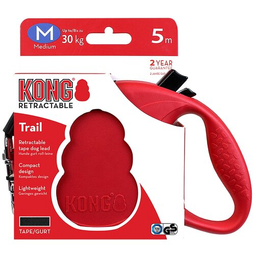 Поводок-рулетка для собак KONG Trail M красный 5 м 12 мм рулетка для собак kong reflect m до 30 кг 5 м серый