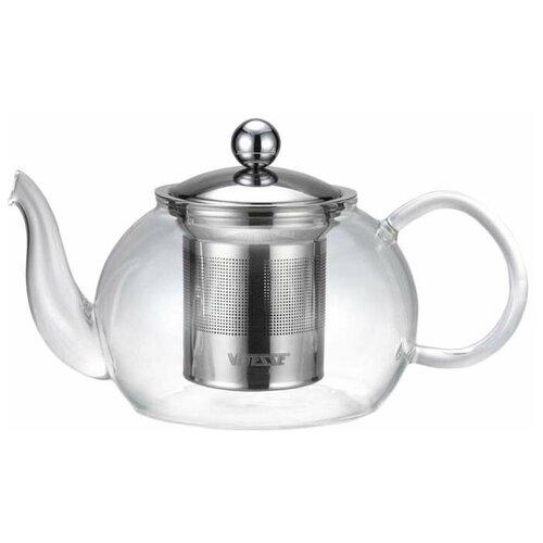 Vitesse Заварочный чайник VS-1695 1.2 л, прозрачный/серебристый чайник vitesse vs 172 серебристый черный
