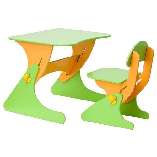 Комплект Столики детям столик + стул Буслик 67x50 см салатовый/оранжевый