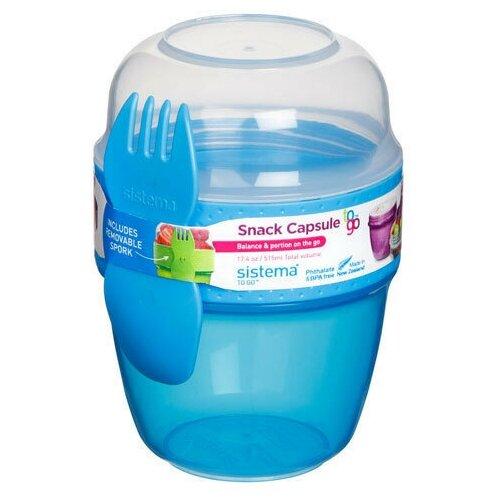 Фото - Sistema Контейнер двухуровневый Snack Capsule TO GO (21488) 0,515 л, 9x9.5 см, blue контейнер двухуровневый to go 1 4 л 14 5х15х9 6 см 21731 sistema