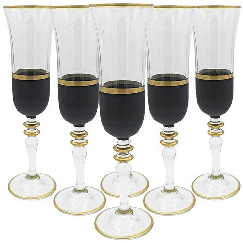 Набор бокалов для шампанского, 6 штук, цвет черный, 150 мл, MARMA MM-SET-54