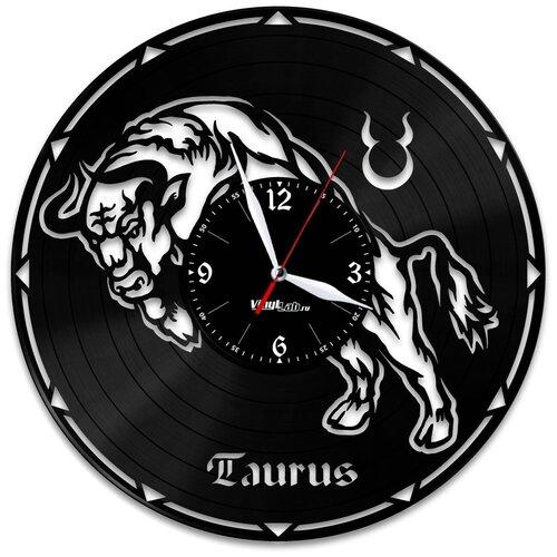 Часы из виниловой пластинки (c) VinylLab Знак зодиака «Телец»