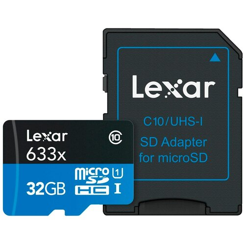 Фото - Карта памяти Lexar microSDHC Class 10 UHS Class 1 633x + SD adapter 32 GB, чтение: 95 MB/s, адаптер на SD карта памяти lexar microsdxc class 10 uhs i u3 a1 v30 633x 256gb sd adapter 256 gb чтение 100 mb s запись 45 mb s адаптер на sd