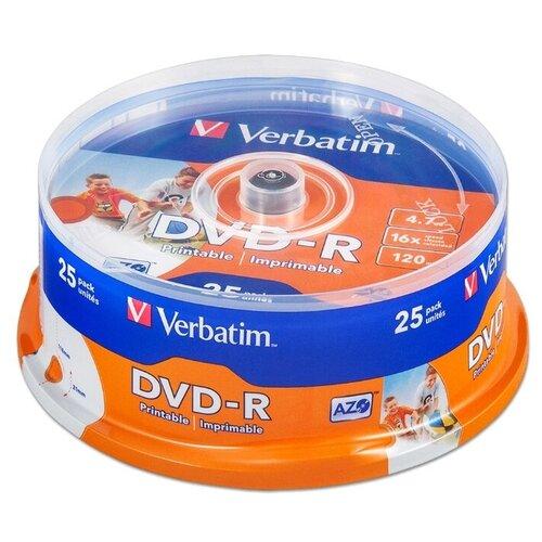 Фото - Диск DVD-R Verbatim 4,7Gb 16x Printable cake 25 шт. (43538) носители информации dvd r 16x verbatim azo matt silver cake 25 43500