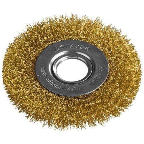Фото - Щетка дисковая для УШМ витая стальная латунированная проволока 100 мм Stayer PROFI 35122-100 щетка чашечная для ушм жгутированная стальная проволока 100 мм м14 stayer profi 35128 100 z01