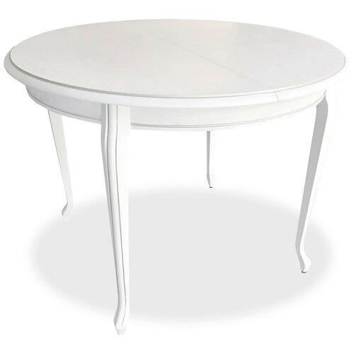 Стол кухонный AURORA (Димитровград) Кабриоль 2, раскладной, длина в разложенном виде: 135 см, d: 105 см, белый с серебряной патиной