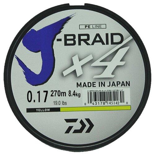 Плетеный шнур DAIWA J-Braid X4 yellow 0.17 мм 270 м 8.4 кг