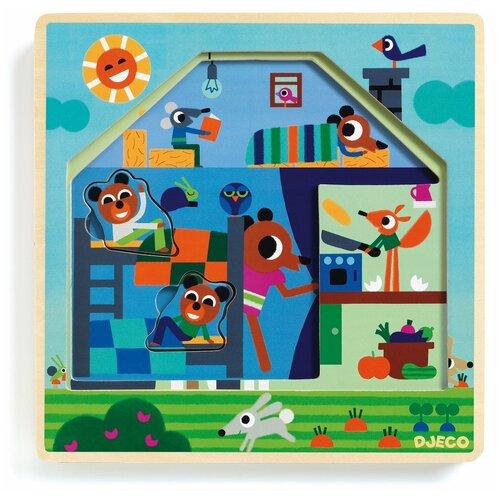 Рамка-вкладыш DJECO Ферма (01486) деревянные игрушки djeco звуковая рамка вкладыш ферма