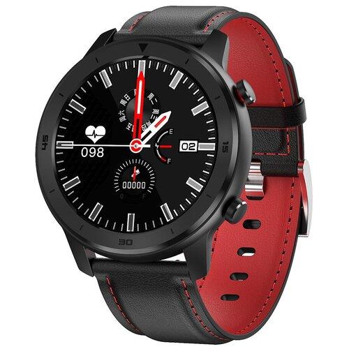 Смарт-часы GARSline DT78 с изменением давления черные с красным кожаным ремешком