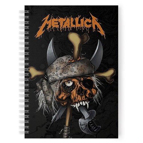 Тетрадь 48 листов в клетку с рисунком Metallica череп в бандане, Drabs, Тетради  - купить со скидкой