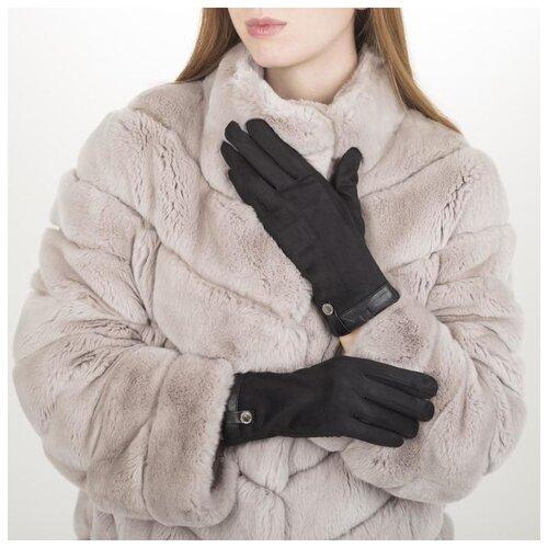 Перчатки жен, 23,5 см, утеплитель иск мех, манжет кожа, черный 5420613