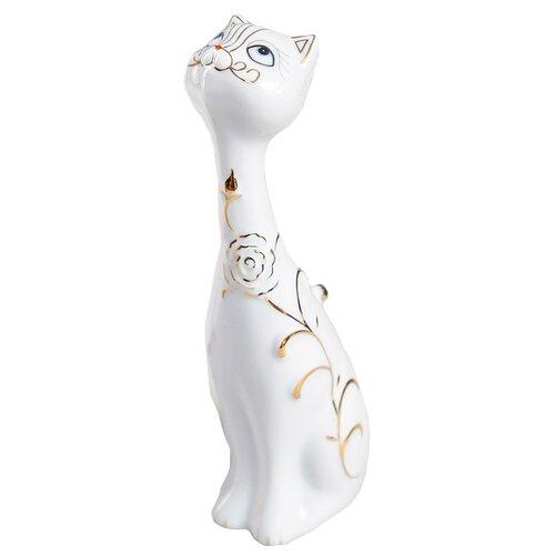 Статуэтка Yiwu Zhousima Crafts Белая кошка с золотой розой 26 см белый статуэтка faberge oc33719 серый золотой черный