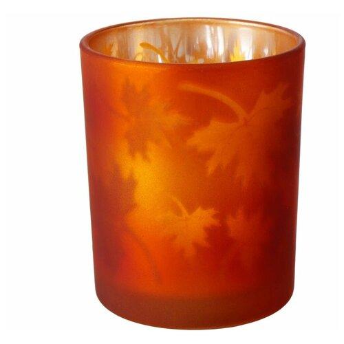 Фото - Подсвечник под чайную свечу КЛЕНОВЫЙ ВАЛЬС, стекло, оранжевый, 8 см, Boltze 2003723-оранжевый подсвечник boltze biba серебряный 11 см