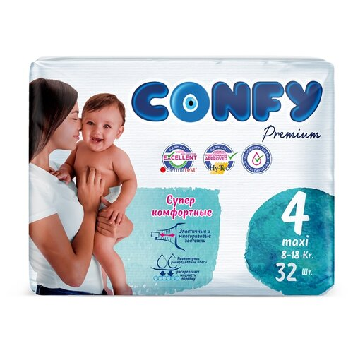 Купить CONFY подгузники Premium 4 (8-18 кг) 32 шт, Подгузники