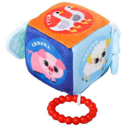 Подвеска кубик мягкая с прорезывателем «Домашние животные», на кроватку/коляску