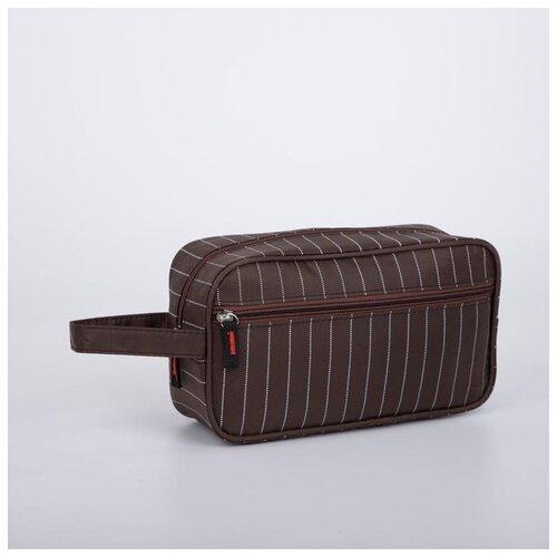 Косметичка дор L- N765, 25*8,5*14, отд на молнии, н/карман, полосы коричневый 6490556