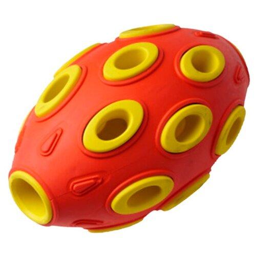 Игрушка для собак Homepet Silver Series мяч регби каучук красно-желтый 7,6 х 12 см (1 шт)