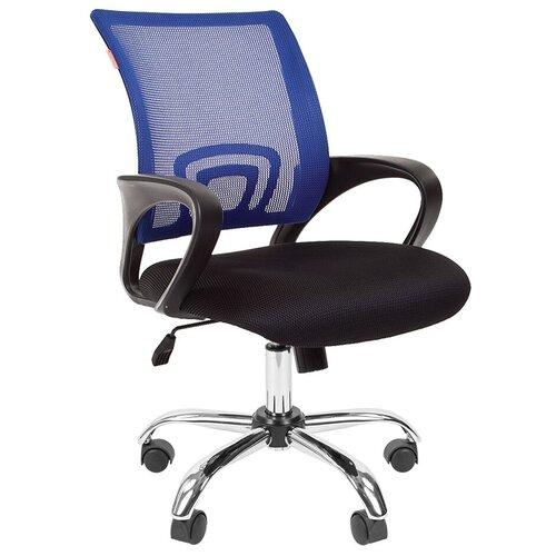 Компьютерное кресло Chairman 696 chrome офисное, обивка: текстиль, цвет: черный TW-11/синий недорого