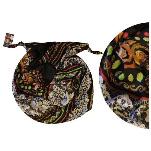 Двойной шарф-долька Оланж Ассорти серия Апрель с узелками черный dolka-шелк-z-142