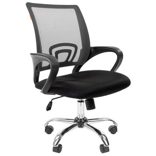 Компьютерное кресло Chairman 696 chrome офисное, обивка: текстиль, цвет: черный TW-11/серый недорого