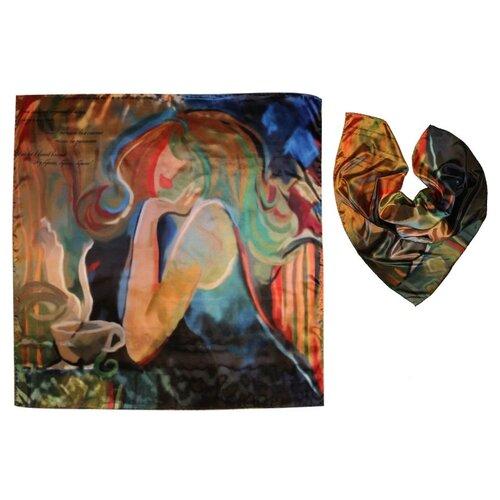 Платок женский шелковый, разноцветный, платок с авторским арт-принтом Оланж Ассорти Я, мысли и кофе платок с авторским арт принтом оланж ассорти принтом море море из шелковистого модала