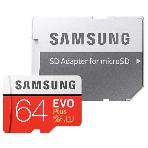 Фото - Карта памяти Samsung microSDXC EVO Plus UHS-I (U1) 64 GB, чтение: 100 MB/s, запись: 20 MB/s, адаптер на SD карта памяти samsung 128 gb microsdxc class 10 uhs i evo mb mc 128 ga ru