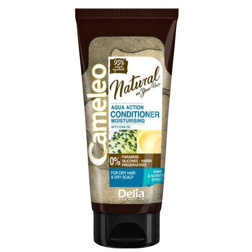 Delia Cosmetics кондиционер Cameleo Natural On Your Hair Aqua Action с маслом чи увлажняющий для сухих волос, 200 мл кератиновый кондиционер delia cosmetics cameleo вв объем волос 200 мл