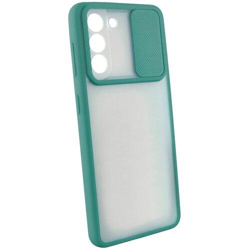 Защитный чехол с защитой камеры для Samsung Galaxy S21 / на Самсунг Гелакси С21 / бампер / накладка / Темно-зеленый