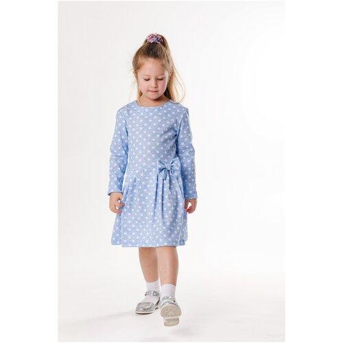 Платье 5+ Горошинка, 98 р., белый горох; светло-голубой
