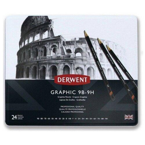 Купить Набор карандашей чернографитных Derwent Graphic 24шт в метал.упак, 34202, Карандаши