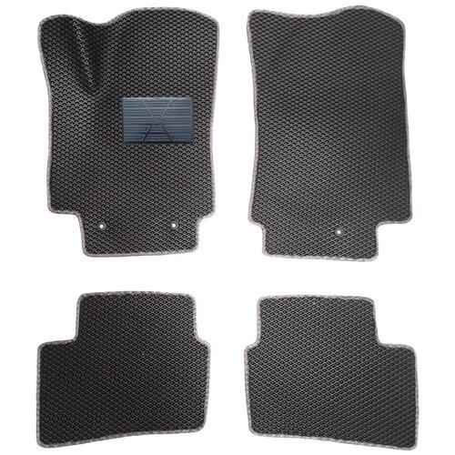 Автомобильные коврики салона Autodefender EVA c пластиковым подпятником для Hyundai Creta 2016 - наст. Время (комплект 5 шт.) черный ромб с серым кантом автомобильные коврики eva для hyundai creta 2016 наст время