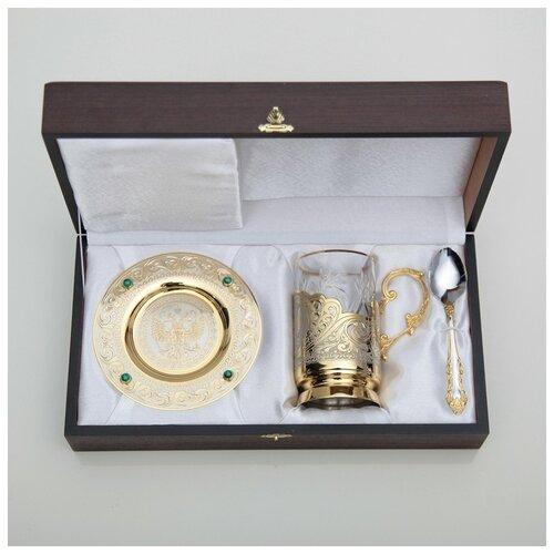 Чайный набор ГЕРБ РФ (подстаканник с блюдцем) 2924014