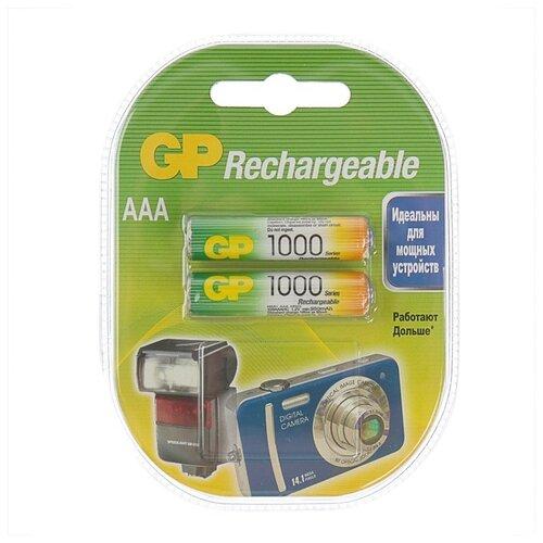 Фото - Аккумулятор GP, Ni-Mh, AAA, HR03-2BL, 1.2В, 1000 мАч, блистер, 2 шт. 842648 аккумуляторы gp 1000 мач в комплекте с зарядным устройством адаптером 1а и кабелем