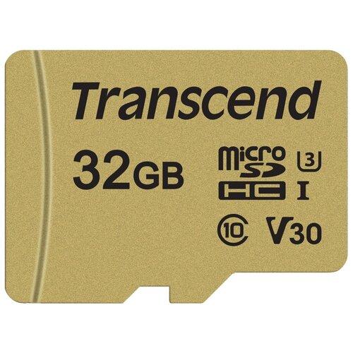 Фото - Карта памяти Transcend TS*USD500S 32 GB, чтение: 95 MB/s, запись: 60 MB/s, адаптер на SD карта памяти transcend ts usdu1 32 gb адаптер на sd