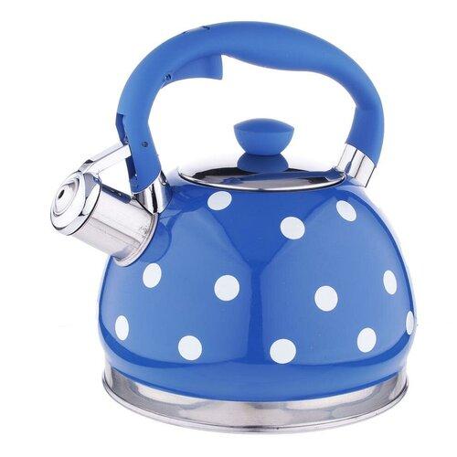 Vetta Чайник со свистком Горошек 847063 2 л, синий/белый чайник vetta глянец 847069 2 7 л