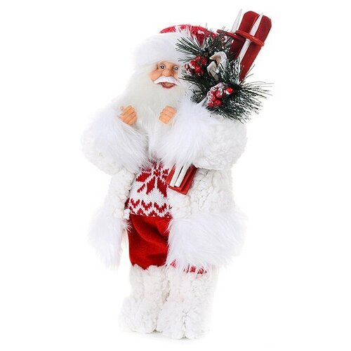 Фигурка Maxitoys Дед Мороз в свитере со снежинкой и лыжами, 32 см белый фигурка maxitoys дед мороз в свитере со снежинкой и лыжами 32 см белый