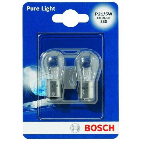 Фото - Лампа автомобильная накаливания Bosch Pure Light 1987301016 P21/5W 12V 21/5W 2 шт. лампа автомобильная накаливания bosch pure light 1987301017 p21w 12v 21w 2 шт