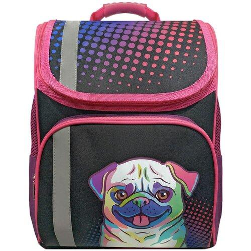 Купить Action! Ранец Мопс (ASB4000/G/8), розовый/черный, Рюкзаки, ранцы