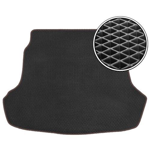 Автомобильный коврик в багажник ЕВА Nissan Tiida 2004 - 2012 хетчбек (багажник) (коричневый кант) ViceCar