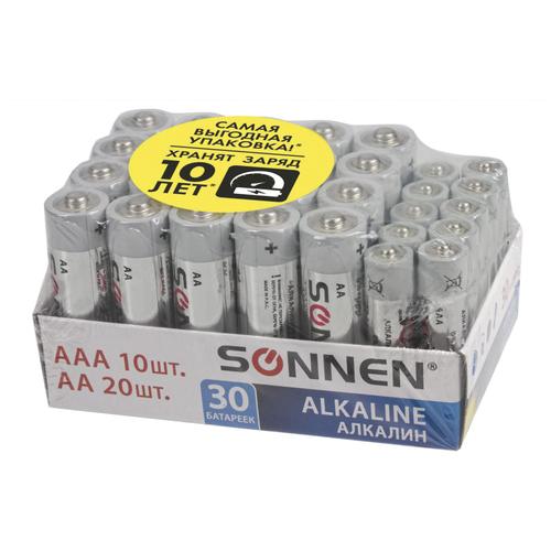 Батарейки КОМПЛЕКТ 30 (20+10) шт., SONNEN Alkaline, AA+ААА (LR6+LR03), в коробке