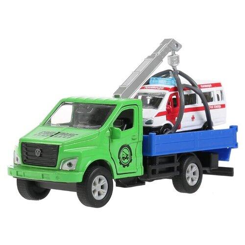 Набор машин ТЕХНОПАРК ГАЗ Газон Next + Скорая помощь (SB-18-23-G+GAZEL-WB) 14.5 см зеленый/синий/белый, Машинки и техника  - купить со скидкой
