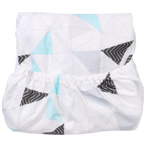Купить Amarobaby простыня на резинке EXCLUSIVE Soft Collection Треугольники 125 х 75 x 12 см белый, Постельное белье и комплекты