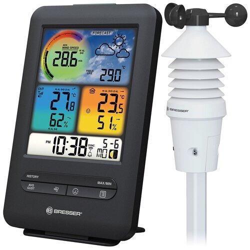 Метеостанция Bresser «3 в 1» Wi-Fi с датчиком ветра и цветным дисплеем профессиональная
