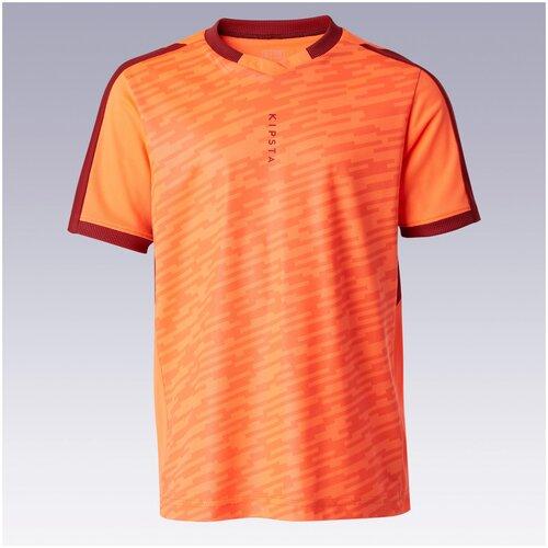 Футболка детская F520 оранжевая, размер: 123-130 CM 7-8, цвет: Неоновый Алый/Бордо KIPSTA Х Декатлон купальник раздельный tami 100 размер 7 8 лет 123 130 см цвет неоновый персиковый olaian х декатлон
