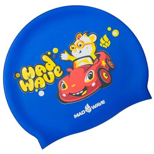 Шапочка для плавания MAD WAVE Teddy Bear, голубой