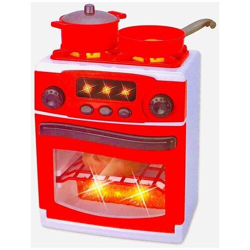 Игровая кухонная плита My Home 3229, с набором посуды и продуктов, конфорки c подсветкой, озвучкой, 21х17.5х13 см