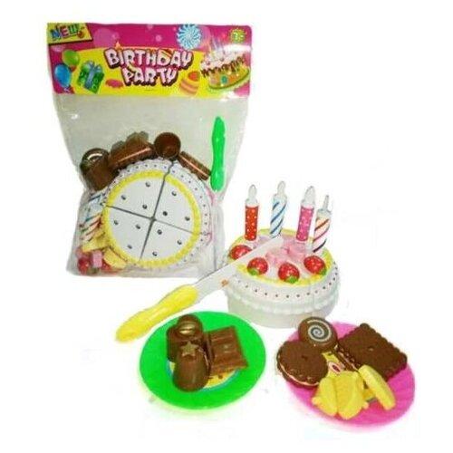 Купить Набор продуктов с посудой Junfa toys Торт праздничный 8882-7 разноцветный, Игрушечная еда и посуда