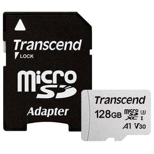 Фото - Карта памяти Transcend microSDXC 300S Class 10 U3 A1 V30 128 GB, чтение: 100 MB/s, запись: 40 MB/s, адаптер на SD карта памяти lexar microsdxc class 10 uhs i u3 a1 v30 633x 256gb sd adapter 256 gb чтение 100 mb s запись 45 mb s адаптер на sd