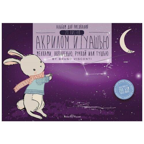 Альбом для гуаши, акрила , акварели Bruno Visconti 20 листов , формат А5 , размер 200 х 140 ,склейка, плотность 200 г/м Лунный Кролик недорого